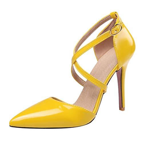iYmitz Sommer Elegant Sandaletten Damen Hochhackig Kreuzgurte Spitz Patent Leder Sandalen Beiläufig High Heel Stiletto Mädchen Schuhe(Gelb,EU 35)