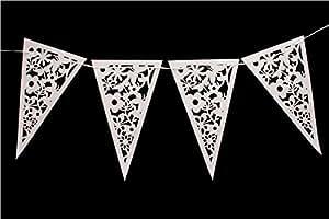 Festone stile vintage di carta effetto pizzo con 20 gagliardetti bianco da 8m - perfetto per matrimoni, feste, anniversari, compleanni o come semplice decorazione per la casa