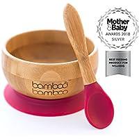 Set de Bowl adherente y cuchara para bebé en combinación, Bowl que no se despega de la mesa al comer, Bambú natural