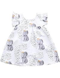 Vestido de niña, Riou Vestido sin Mangas con Estampado de Elefantes y Estrellas de la Manga de la Princesa Vestido para niños Elegante Tallas Grandes Ropa de Bebe Verano
