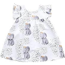 Vestido de niña, Riou Vestido sin Mangas con Estampado de Elefantes y Estrellas de la