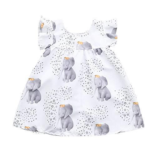 Vestido de niña, Riou Vestido sin Mangas con Estampado de Elefantes y...