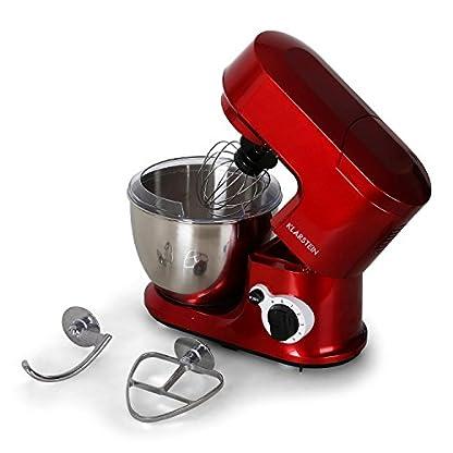 Klarstein-Carina-Rossa-Kchenmaschine–Rhrmaschine–Kchenmaschine–800-Watt–6-stufig-einstellbar–4-Liter-Edelstahlschssel–Rhrarm-hochklappbar–inkl-Schneebesen-Knet-Rhrhaken–rot