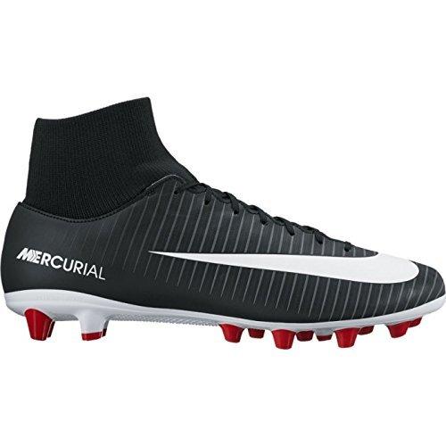 Nike mercurial victory vi df agpro, scarpe da calcio, uomo, nero (black/white/dk grey/univ red), 42 eu