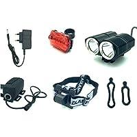 ANBIT 2 × CREE XM-L2-fari e fanali posteriori della bicicletta + 6400mAh Battery + EU caricabatterie unificata, 4 modalità di progettazione, unico faro del faro impermeabile LED