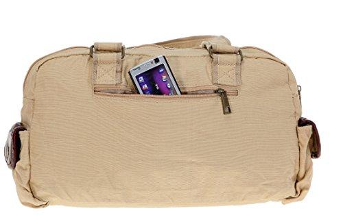 Handtasche ELEPHANT CASUAL MEDIUM Tasche Schultertasche Shopper gewachstes Nylon // OLIV Camel