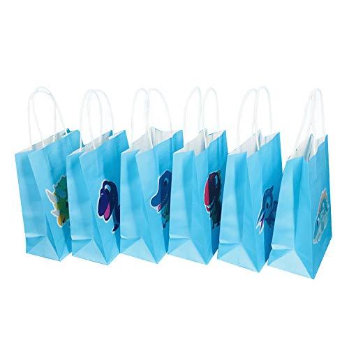 Partytüten, Dinosaurier-Partytüten,6 stücke Dinosaurier Thema Party Supplies Papier Goodie Taschen mit Griff für Kinder Geburtstag Behandelt Gastgeschenke Geschenke Dekorationen