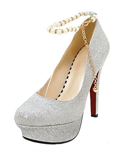 Aisun Damen Sexy Künstliche Perlen Kette Plateau Stiletto Rot 43 EU GgNnJ
