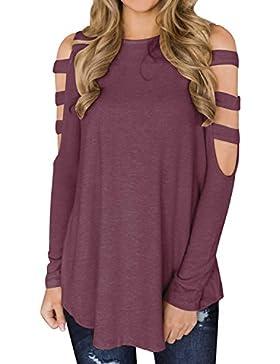 ACHIOOWA Mujer Camiseta Elegante Casual Hombros Descubiertos Blusa Mangas Largas Cuello Redondo Top