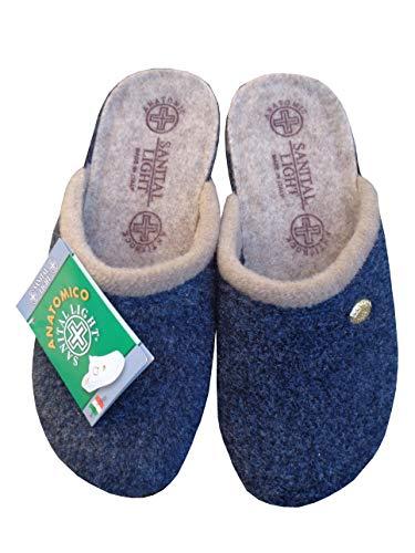 Zoom IMG-2 pantofola in lana cotta blu