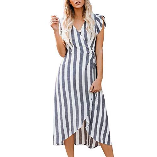 ftes Langes Kleid Boho Maxi Kleid Sommerkleid Mode Freizeit Kleid Kurzarm V-Ausschnitt Strand Blumen Kleider Abendkleid Knielang ()