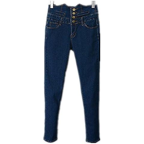 ZYQYJGF Mezclilla Azul Stretch Cuatro Botón Jeans Mujer Destruir Flaco Relajado Recto-Pierna Larga Botón Ajustar Color Sólido Suelto Casual Altura Cintura