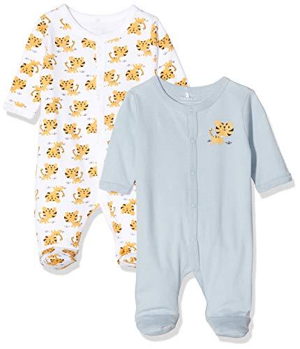 Name IT NOS Baby-Jungen NBMNIGHTSUIT 2P W/F Blue Fog AOP NOOS Strampler, Blau (Herstellergröße: 62) (2er Pack)