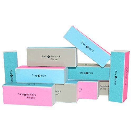 Nailfun® - Bloc de polissage professionnel, à 4 faces, bleu 10 pezzi