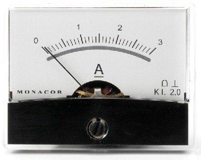 Monacor Moving-Coil-Panel Meter mit Spiegel Skala (3A, 20m Ohm)