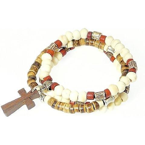 Conjunto de 3 coco heishi de madera abalorios estilo surfista pulseras elásticas - con cruz de madera / crucifijo