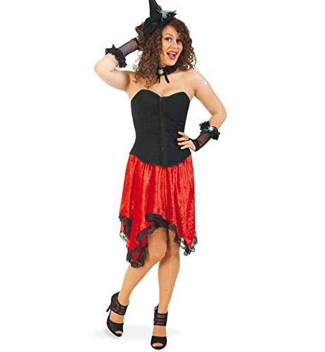 Showgirls Kostüm Erwachsene Für - KarnevalsTeufel Damenkostüm Fashion Corsage und Rock schwarz-rot Samtoptik Sexy Fashion-Queen Showgirl Kostüm für Erwachsene