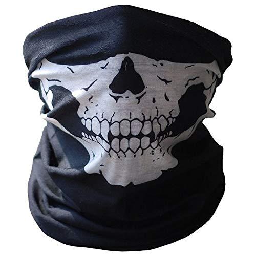 EROSPA® Schlauchschal/Halb-Maske mit Motiv Gebiss/Knochen/Skelett - schwarz/weiß - Damen/Herren/Unisex