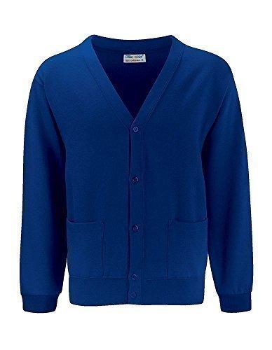 Deep V-neck Cardigan (Blue Max für Erwachsene Winterwear Long Sleeve V Neck Buttoned-Cardigan Pullover - Blau - Deep Royal, M)