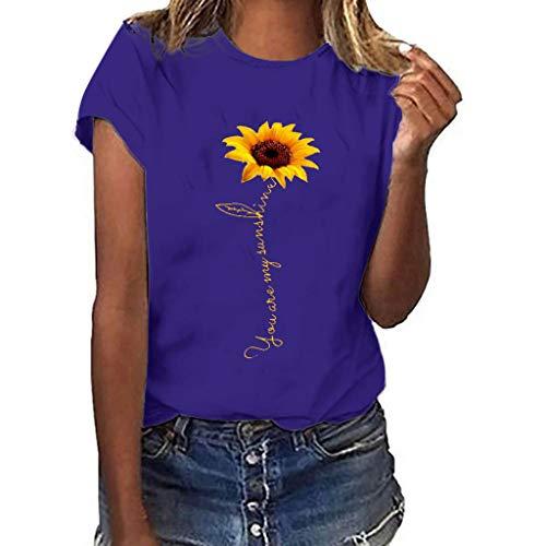 Dasongff Damen Tee, Rundhals Kurzarm Basic T-Shirt Sonnenblume Drucken Tops Modisch Casual Sommertop Lose Kurzarmshirt in Versch Farben S-3XL -