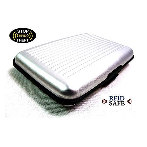 (DGDJ Geldbörse aus Aluminium für Kreditkarten, RFID-blockierend, 6 Farben (schwarz) Silber)