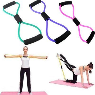 Vital Creations Total Body Finess Stretch Body Toning and Stretching Travel Exercise Tube 8 Type Resistance Band Exercise Tube – Multi-Coloured