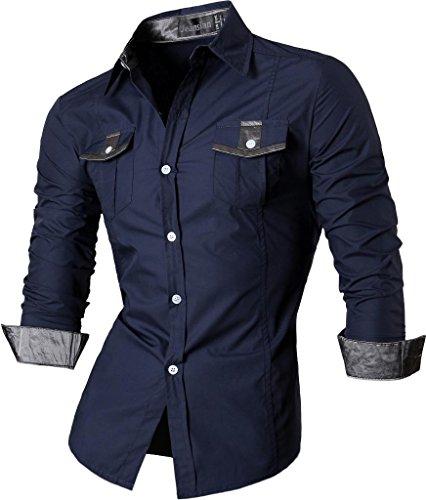 jeansian Herren Freizeit Hemden Shirt Tops Mode Langarmshirts Slim Fit Z022 Navy