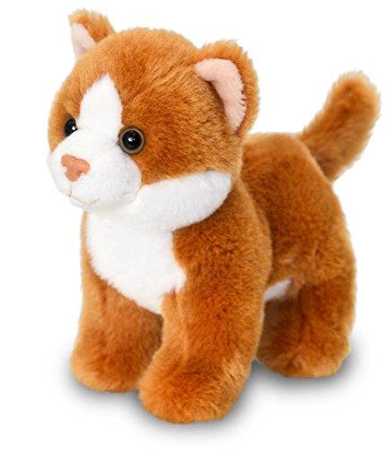 Preisvergleich Produktbild Plüschtier Katze rot - weiß, Plüschkatze mit Soundfunktion, Keel Toys Kuscheltier ca. 13 cm