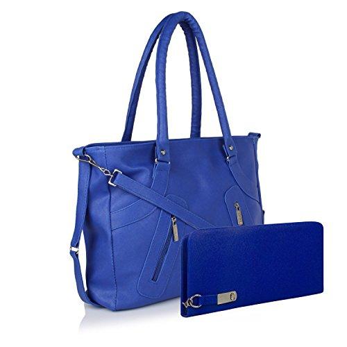 Flora Premium PU Leather Women's Handbag And Wallet Clutch Combo (LBWB-1) (Blue Color)