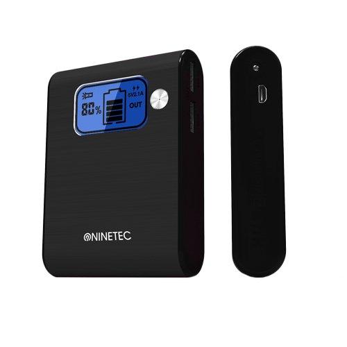 NINETEC Power Bank Akku 10.000 mAh Ladegerät extern USB für Smartphone Tablet NT-565 schwarz