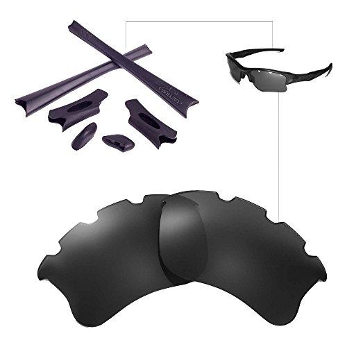 Walleva Polarisierte schwarze belüftete Linsen + Gummi für Oakley Flak Jacket XLJ