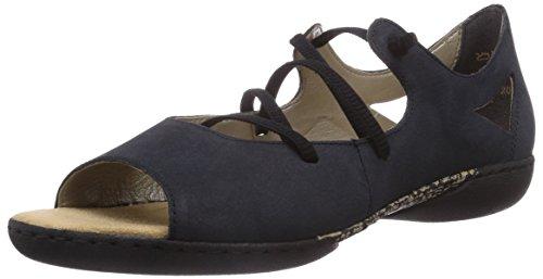 Rieker V1650 Damen Peep-Toe Ballerinas Blau (pazifik / 15)