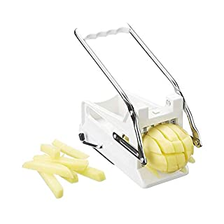 KitchenCraft Potato Chipper, French Fry Vegetable Cutter/Dicer Machine, Includes 2 Size of Blades