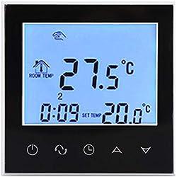 Thermostat Numérique Thermostat d'Ambiance Programmable Thermostat Connecté Thermostat Chauffage Electrique pour Système de Chauffage Fixation Murale(Black)