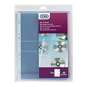 Elba Sachet de 10 Pochettes perforées pour rangement CD et DVD Polypropylène A4 Bande de renfort blanche