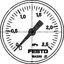 MA-50-2,5-1/4-EN (162837) Manometer Anzeigebereich [bar]:0 bis 2,5bar Entspricht Norm:EN 837-1 (Manometer Flüssigkeit)