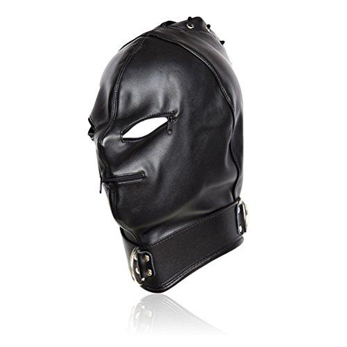 SUPVOX Leder Bondage Hood Maske Open Eyes Gesicht Abdeckung für Paare Liebhaber Cosplay Kostüm (Reißverschluss Gesicht Kostüm Kit)