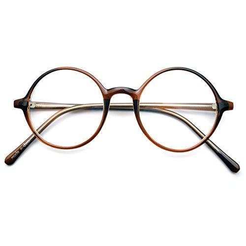 1920s Nerd Brille filigran rund Glasses Klarglas Hornbrille treber 19R0 Brown