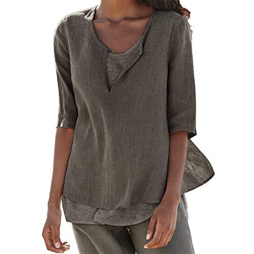 1a85e215abfb Mosstars ❤ Camicie Donna Lino Puro Colore Magliette Donne Taglie Forti  Allentata Lunga T Shirt
