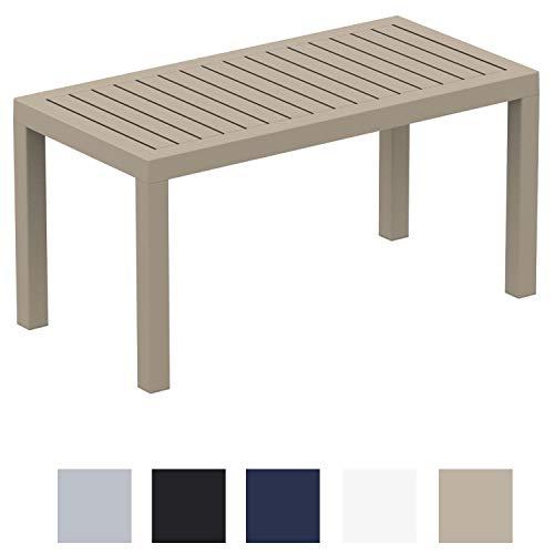Clp tavolo giardino rettangolare ocean in polipropilene – tavolino salotto giardino in robusta plastica resistente ai raggi uv e facile da pulire i tavolo caffè da balcone alt. 45 cm tortora