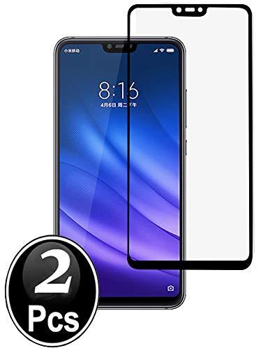 Ferilinso vidro temperado Xiaomi Mi 8 Lite, [2pack] [Total Cobertura] [Completamente adesiva Cola] [auto-absorção] [corrigido] vidro temperado protetor de tela para sem bolhas (preto)