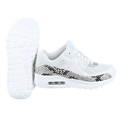 Low-Top Sneaker Damenschuhe Low-Top Sneakers Schnürsenkel Ital-Design Freizeitschuhe Weiß