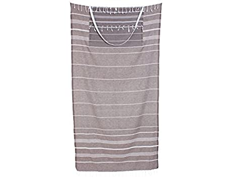 Cacala Peshtemal Turkish Bath Towel & Bag Combo — Converts from Bag to Towel — 100% Cotton — Super Absorbent & Plush— Perfect Beach Bag and Beach Towel - Light Brown