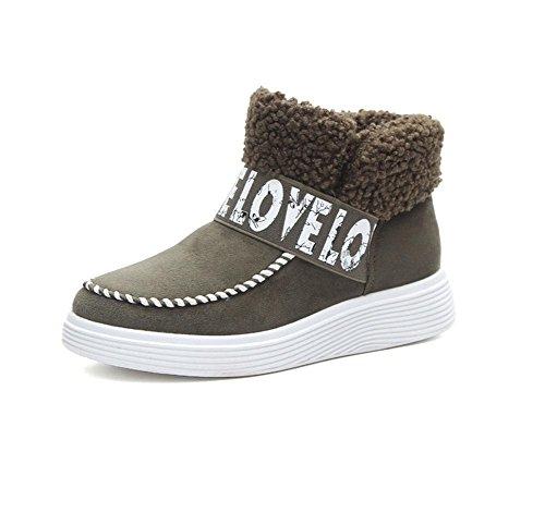 MEILI Scarpe da donna, tubo corto, scarponi da neve, stivali, suole spesse, scarpe di cotone, più velluto, scarpe pigre, caldo, stivali di cotone, moda, tempo libero green