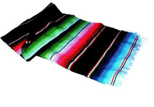 large-authentic-mexican-saltillo-sarapes-throw-rugs-colorful-blanket-black-pink-blue-by-roger-enterp