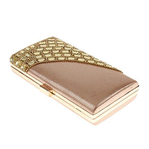 MagiDeal Frauen Handtaschen Strass Kupplung Kleine Taschen Gold Brautschulterhandtaschen