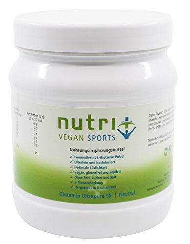 L-Glutamin Pulver 500g hochdosiert - optimale Bioverfügbarkeit - ohne Zusätze - Muskelaufbau und Regeneration - Nutri-Plus Vegan Sports Ultrapure 5k