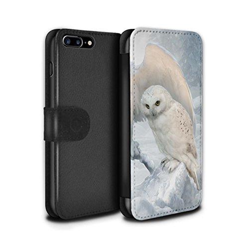 Officiel Elena Dudina Coque/Etui/Housse Cuir PU Case/Cover pour Apple iPhone 8 Plus / Coucher Soleil Design / Les Oiseaux Collection Hiboux d'Hiver/Arctique