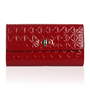 Womens Red Patent Faux Leather Quilted Ladies Party Evening Clutch Bag Handbag Purse