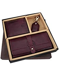 Brown Cherry Goat Leather Women's Wallet, Men's Wallet & Key Chain - Gift For Couple
